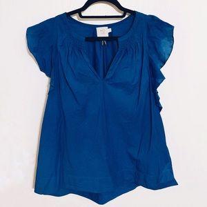 Anthropologie Cerulean Blue Flutter Sleeve Top